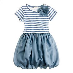Girls' puff love dress in blue and white stripes