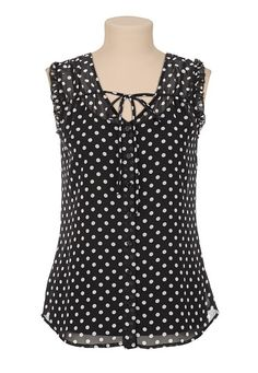 Dot Print Chiffon Button Front Top available at #Maurices