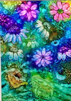 Alcohol ink painting. Abstract. Floral III. by KCsCornerGallery
