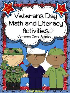 Veteran's Day: Math and Literacy Activities - check out GMG's free glitter frames on the cover!
