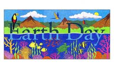"Earth Day Tropical Mural. PDF template file for just $5. 64""x 30"" when complete."