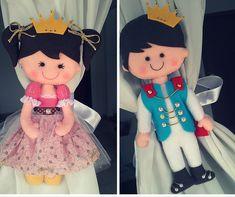 Prendedores de cortina princesa príncipe em feltro! #príncipe #princesa