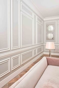 For a product as simple as wall moulding, the effect it creates can be transformational. Sometimes the simplest of design techniques can be the most effective. For relatively little cost you can achieve a really elegant look. We sell a whole range of profiles from modern, classic to highly decorative depending on the period of your property or the style you want to achieve. Home Room Design, Home Interior Design, Living Room Designs, Interior Architecture, Home Living Room, Living Room Decor, Dining Room Wainscoting, Dado Rail Bedroom, Painted Wainscoting