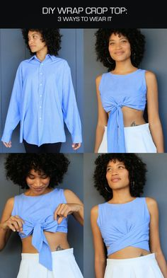 DIY Men's Shirt to Wrap Crop Top Tutorial and Pattern from The Felted Fox. Who is ready for summer? Start looking for men's shirts to restyle into this DIY Wrap Crop Top. This is an easy DIY if you se (Diy Clothes) Old Clothes, Sewing Clothes, Clothes Crafts, Thrift Shop Clothes, Up Cycle Clothes, Diy Clothes Vintage, Thrift Shop Outfit, Diy Clothes Tops, Diy Clothes Hacks