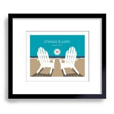 porch scene art adirondack chairs wedding | Beach Wedding Gift - Art Print Personalized For Couples - Beach Theme