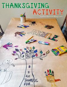 Posted to FB Invitation to Create a Thanksgiving Tablecloth with Hand Turkey Drawings Thanksgiving Art Projects, Thanksgiving Writing, Thanksgiving Activities For Kids, Thanksgiving Parties, Crafts For Kids To Make, Kids Crafts, Autumn Activities, Kids Diy, Thanksgiving Decorations