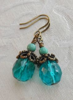 50% Off Turquoise Bead Teal Czech Glass Earrings Antique