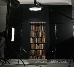 Vintage Library Leather Bookshelf Wallpaper at StylishLife.co.uk
