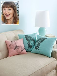 Darling DIY Pillow Covers - Give your plain cushions a clever makeover in only 20 minutes.