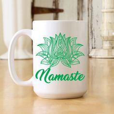 ebda76bcebe Namaste Large Jumbo White 15 oz Coffee Mug (OHC130) White Ceramics, Namaste,