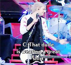 5SOS getting excited about a guy wearing their shirt
