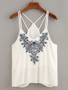 Shop Flower Embroidered Strappy Cami Top online. SheIn offers Flower Embroidered Strappy Cami Top & more to fit your fashionable needs.