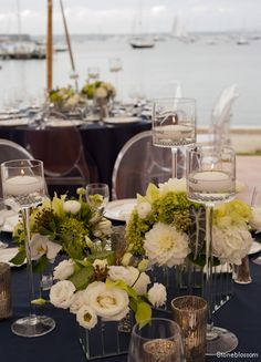 Stoneblossom Florals' natical centerpieces surrounded by sailboats
