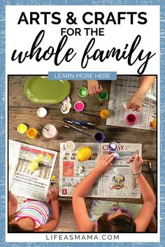 Arts and crafts are a great way to relax and clear your mind. Life as Mama has great list of ideas for the whole family to get creative. Tap the photo again to learn more. #lifeasmama #artsandcrafts #diyprojects #crafts #familytime Indoor Activities For Toddlers, Toddler Learning Activities, Craft Activities, Diy Projects For Kids, Fun Crafts For Kids, Toddler Crafts, Project Ideas, Make Your Own Playdough, Budget Crafts