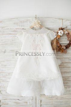 2e854ab62627 Ivory Polka Dot Lace Tulle Cap Sleeves Open Back Wedding Flower Girl Dress  SKU: K1003880