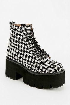 Jeffrey Campbell Houndstooth Lace-Up Platform Boot