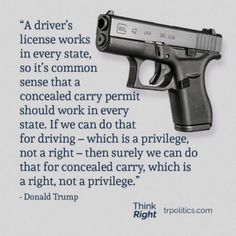 """""""A driver's license works J in every state, so it's common sense that a ; _ concealed carry permit should work' every state. If we can do that ~- for driving - which is a privilege, not a right - then surely we can do that for concealed carry, which is Gun Quotes, Life Quotes, Qoutes, Great Quotes, Inspirational Quotes, Motivational Quotes, By Any Means Necessary, Political Quotes, Political Views"""