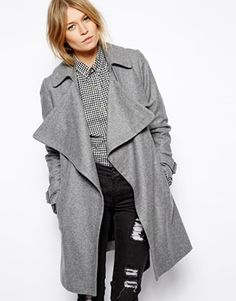 Image 1 of ASOS Coat with Waterfall Drape Front in Wool
