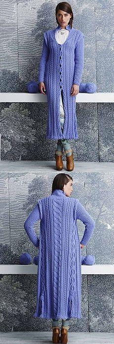 Голубое пальто с аранами | Шкатулочка для рукодельниц