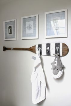 The perfect accessory for the nautical nursery. Paddle wall hooks, with a customised paint scheme.