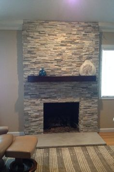 Wood burning fireplace makeover stacked stones 23 new ideas Fireplace Update, Farmhouse Fireplace, Home Fireplace, Fireplace Remodel, Living Room With Fireplace, Fireplace Surrounds, Fireplace Design, Fireplace Mantels, Stone Veneer Fireplace