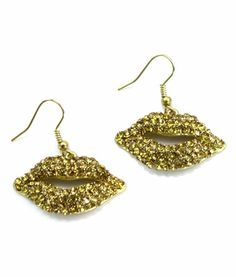Gold Rhinestone Lips Earrings