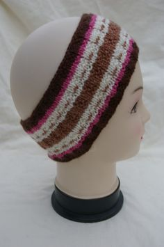 Ear Warmer Head Band in Cream Browns and pink hand knitted by Eileen's Craft Studio