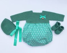 Baby Clothing Set: Dress, Bloomers, Bolero, Bonnet And Booties  Get the look:  This complete baby girl clothing set includes-  Strap Dress Bloomers Crochet Bolero Bonnet Booties  Items can be bought separately, please visit the other clothing sections in my shop.   The baby diaper cover or bloomers have an elastic waist and leg opening for a comfortable fit. Bolero, bonnet and booties are made in a soft 100% anti-allergenic cotton, perfect for babies. All items are finished with natural…