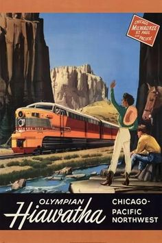 Art Deco train poster Milwaukee Road Olympian Hiawatha Railroad by RobsVintageImages, Train Posters, Railway Posters, Travel Ads, Train Travel, Milwaukee Road, Bonde, Train Art, Retro Poster, Chicago Photos
