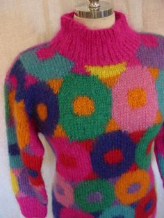 Vintage 80s Neon Donut Mohair Sweater by daisyfairbanks on Etsy