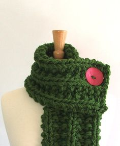 Chunky Knit Kelly Green Cowl Scarf with Large Hot by AMarieKnits, $39.00