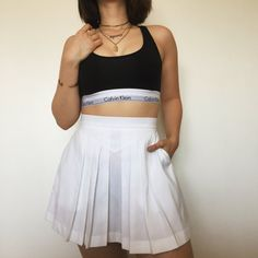 Vintage 80s White Adidas Pleated Tennis Skirt