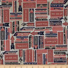 Tim Holtz Eclectic Elements Air Mail Red from @fabricdotcom  Designed by Tim Holtz for Coats and Clark, this…