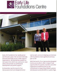 The Early Life Foundations Centre, Melbourne Australia Directors Kathy Walker & Shona Bass