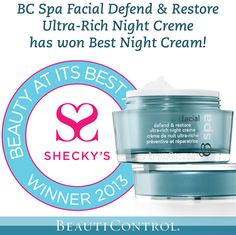 Have you heard the news? BeautiControl's products are winners once again! This time BC Spa Facial Defend & Restore Ultra-Rich Night Creme for Best Night Cream! #skincare