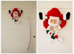Enfeite de porta Papai Noel e boneco de neve em feltro