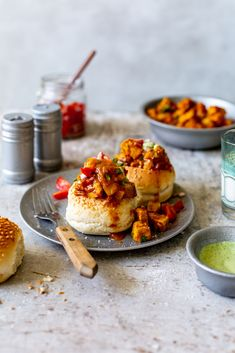 Hollowed out rolls filled with a curry made with Quorn Savoury Pieces and topped with tomato salsa and a coconut coriander cream. Green Olive Salsa, Whipped Feta, Gluten Free Chocolate Cake, Recipe 30, Chow Chow, Light Recipes, Coriander, A Food
