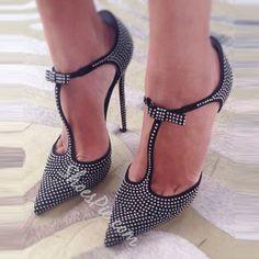 Shoespie Rhinestone Bowtie Stiletto Heels