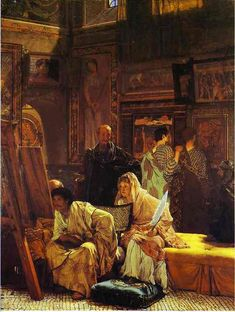 Sir Lawrence Alma-Tadema. A Picture Gallery. 1874. Oil on canvas. Burnley Borough Council, Towneley Hall Art Gallery, UK. The man in the center is a portrait of the art-dealer Gambart, who commissioned the picture. On the wall there are several documented Roman paintings, including Medea by Timomachus, which was bought by Julius Caesar.