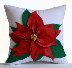 Amore Beaute Poinsettia Decorative Throw Pillow Cover Red Felt on White Cotton Cushion Cover Christmas Pillowcase Gift Christmas Decor Gift Handmade Holiday Decorations Christmas Cushions, Christmas Pillow, Felt Christmas, Christmas Crafts, Christmas Decorations, Christmas Ornaments, Flower Pillow, Red Felt, Christmas Sewing