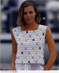 crochet granny square fashion – Knitting world Débardeurs Au Crochet, Pull Crochet, Mode Crochet, Crochet Woman, Crochet Granny, Filet Crochet, Crochet Stitches, Easy Crochet, Tricot Crochet