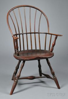 Red-painted Sack-back Windsor Chair Wooden Dining Room Chairs, Old Chairs, Antique Chairs, Accent Chairs For Living Room, Primitive Furniture, Country Furniture, Antique Furniture, Garden Chairs For Sale, Desk Chair Target