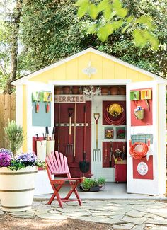 Organize your outdoor shed...Turn gardening chores into an enjoyable pastime by bringing an old shed to life with colorful paint. Transform the shed walls into organization superstars with sheets of practical pegboard, which make it simple to hang shelves and hooks and rearrange tools as needed. To make weeding and pruning a grab-and-go affair, hang frequently used tools on the inside of the shed's doors.
