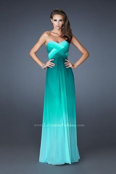 La Femme Prom Gown. Beautiful multi-tonal ombre with woven front detail and crisscross beaded back. Side zipper closur - 18525