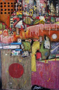Tableau+collage+abstrait+de+grand+format. Tableau+composé+de+pièces+de+carton,+de+magazines,+de+papiers+colorés+et+de+peinture+séchée. Peinture+et+vernis+acryliques+complètent+cette+toile+chaleureuse+et+percutante+sur+le+thème+du+Japon.