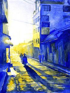 Watercolor painting of street scene in Peru by RFoxWatercolors, $45.00