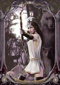 Illustration of the ancient greek goddess Artemis. Artemis, Mythology Art, Moon Goddess, Greek And Roman Mythology, Deities, Artemis Goddess, Mythical, Art, Mythology