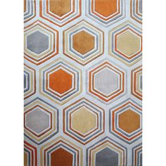 Crafted of fine polyester, this Orange White Grey Copper Area Rug has rich colors to enhance your interior decor. With a hand-tufted construction and plush pile, this rectangular rug brings flair to your home with its geometric design in orange.
