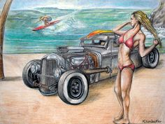 "A colored pencil piece I did that measures 12""x9"". I was enthralled with the Rat Rods and Kustom  Kulture at this time ,still an. I saw a photo of this car and had to draw it! I figured that it needed a background and added the rendering of the beach and the the picture of the girl in the bikini in for good measure to complete the story! $100.00"