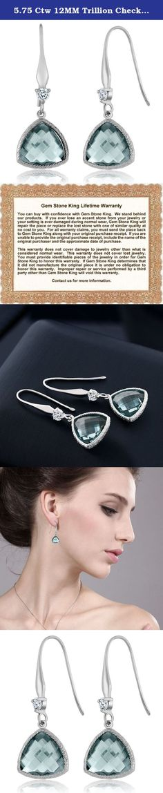 5.75 Ctw 12MM Trillion Checkerboard Simulated Aquamarine 925 Sterling Silver Dangle Earrings For Women. This beautiful item is brand new and comes with complimentary gift packaging appropriately selected to match the item you purchased. The packaging ranges from dainty foam insert packaging to luxurious leather insert cherry wood boxes. Every order is fully insured regardless of value. This insurance protects you against damage or the loss of your item while in transit. The Shipping and...